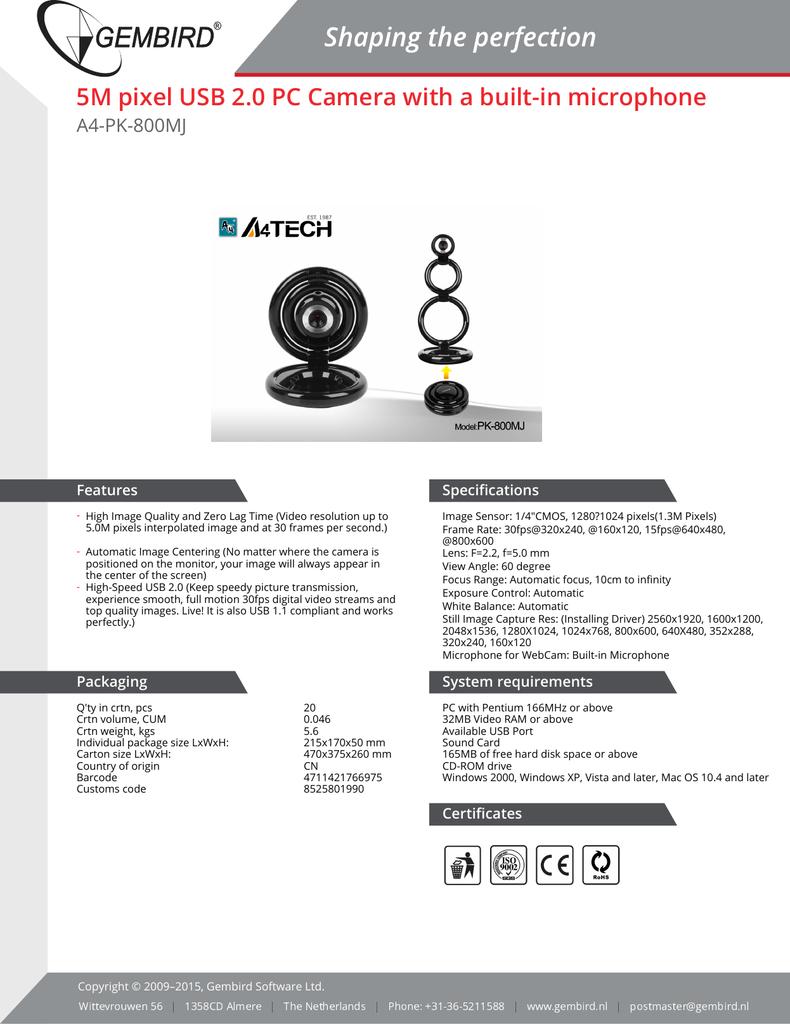 A4Tech PK-800MJ Webcam Drivers for Mac