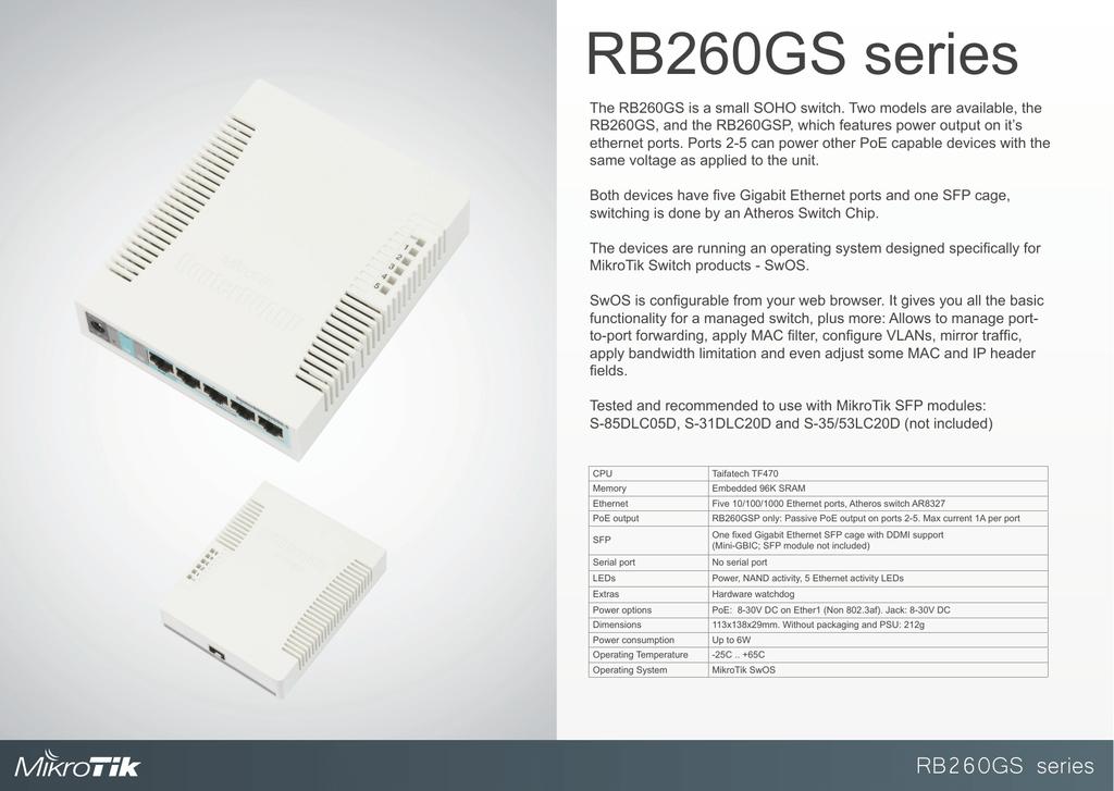 Mikrotik RB260GSP network switch | manualzz com
