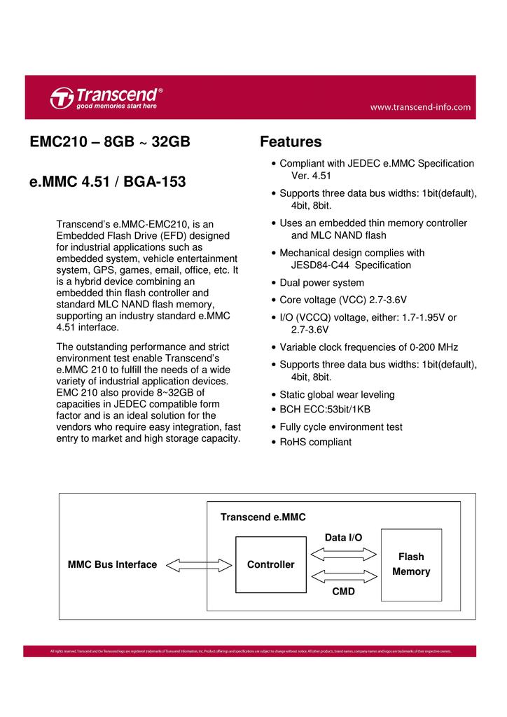 Transcend TS8GEMC210 flash memory | manualzz com