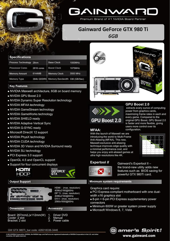 Gainward 426018336-3446 NVIDIA GeForce GTX 980 Ti 6GB graphics card