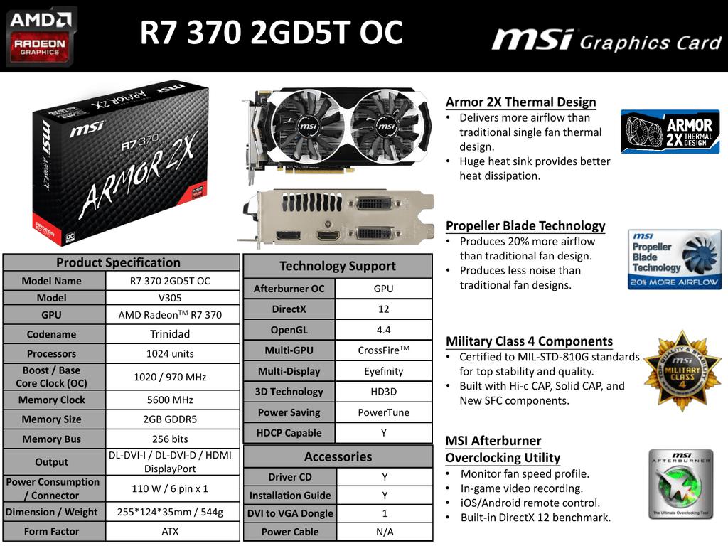 MSI R7 370 2GD5T OC AMD Radeon R7 370 2048GB | manualzz com