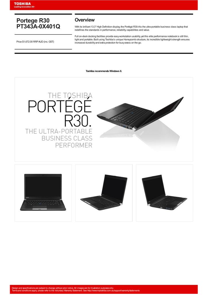 Toshiba Portégé R30 | manualzz com