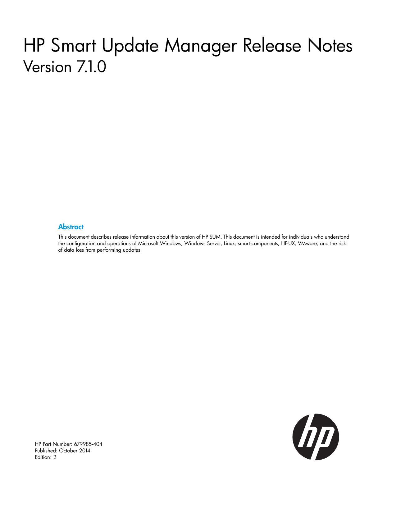 HP Smart Update Manager Release Notes - Hewlett Packard
