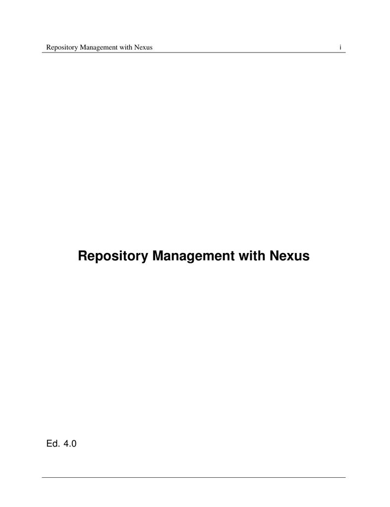 Repository Management with Nexus - Books - Sonatype com