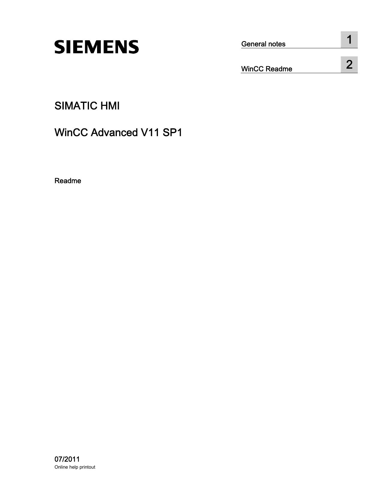 SIMATIC HMI WinCC Advanced V11 SP1 | manualzz com