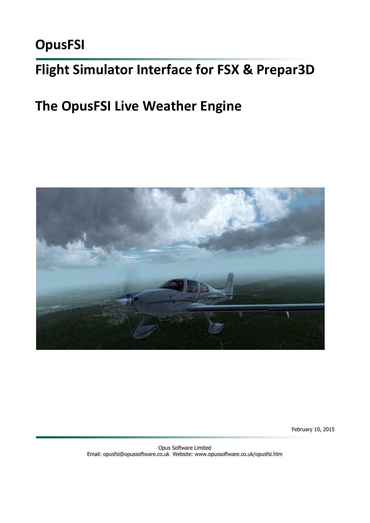 OpusFSI Flight Simulator Interface for FSX & Prepar3D The