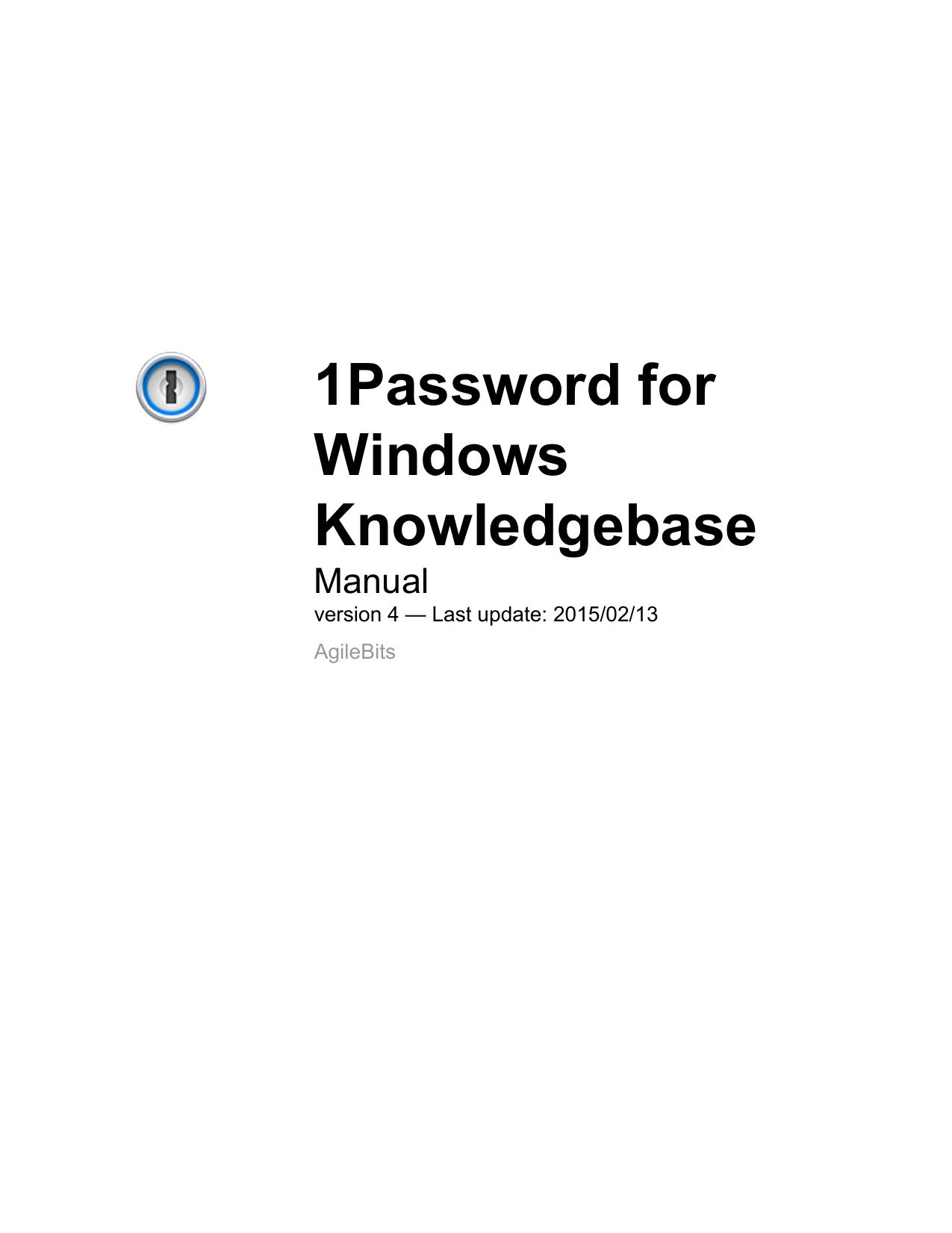 1Password for Windows Knowledgebase | manualzz com