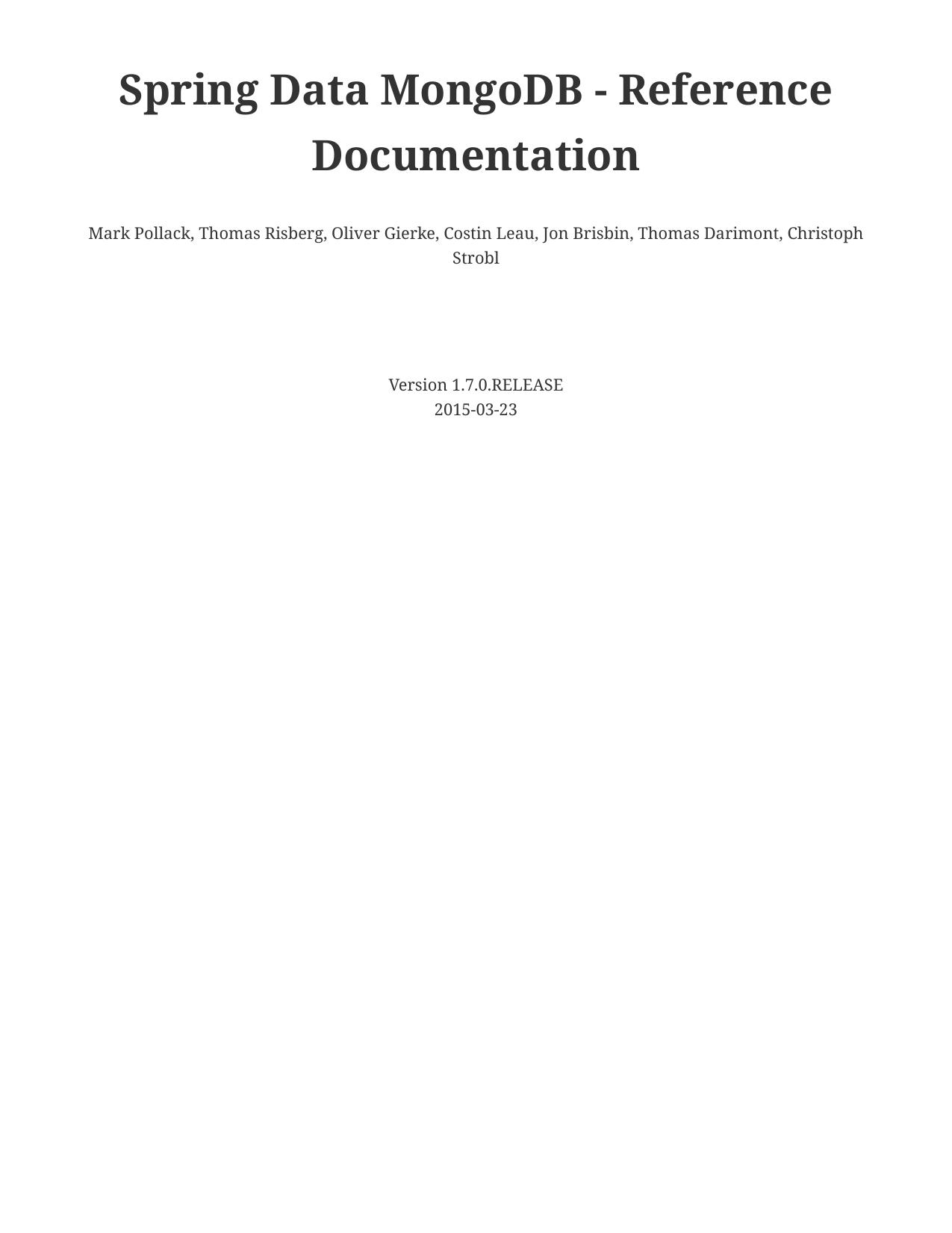 Spring Data MongoDB - Reference Documentation | manualzz com