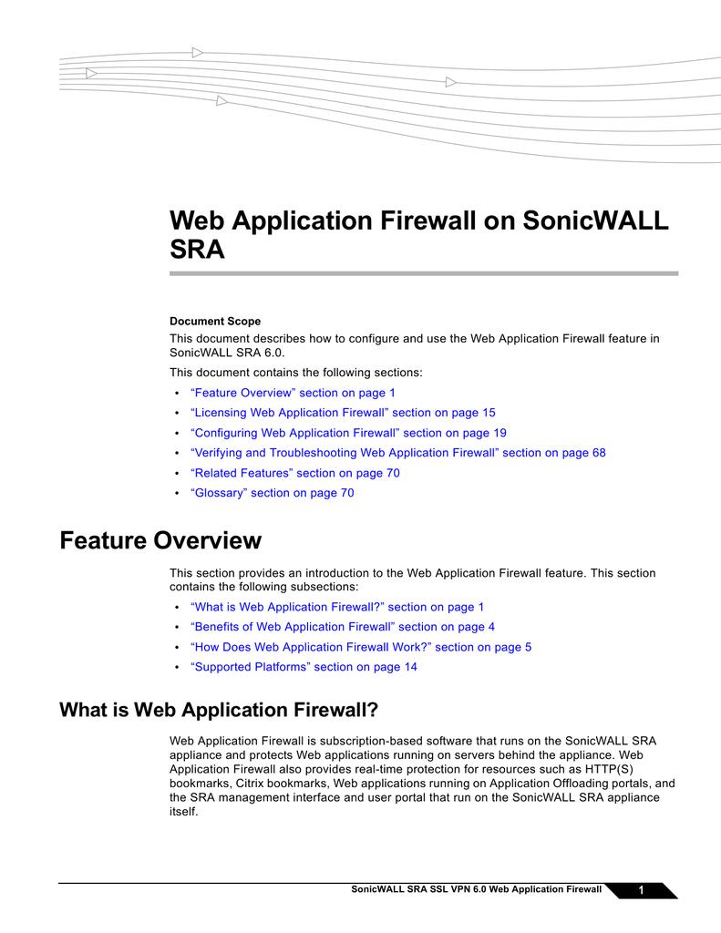 Web Application Firewall on SonicWALL SRA   manualzz com