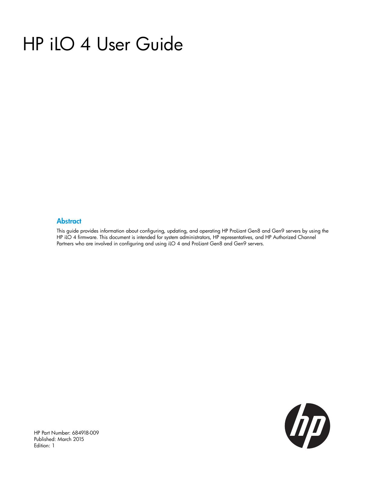 HP iLO 4 User Guide | manualzz com