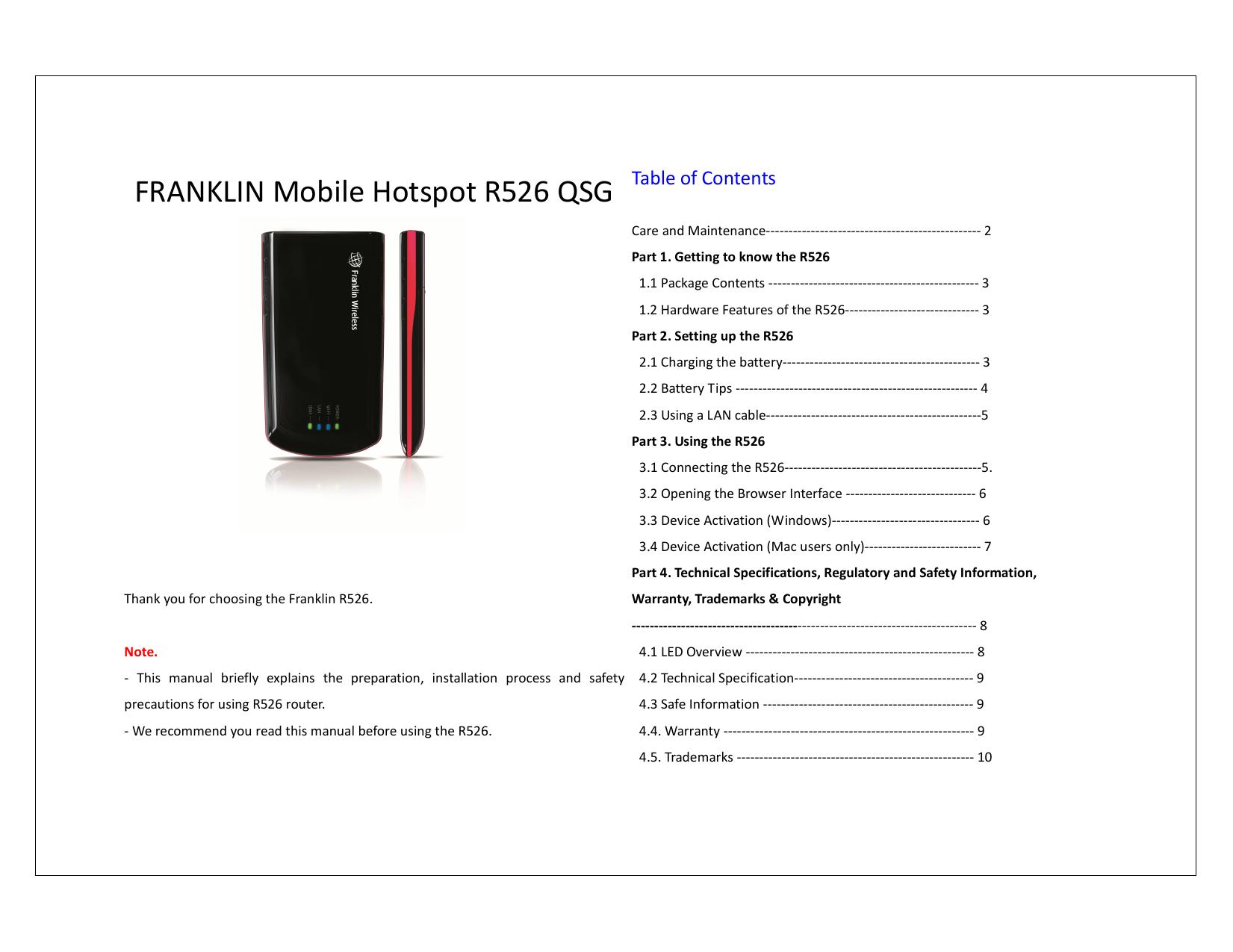 FRANKLIN Mobile Hotspot R526 QSG   manualzz com