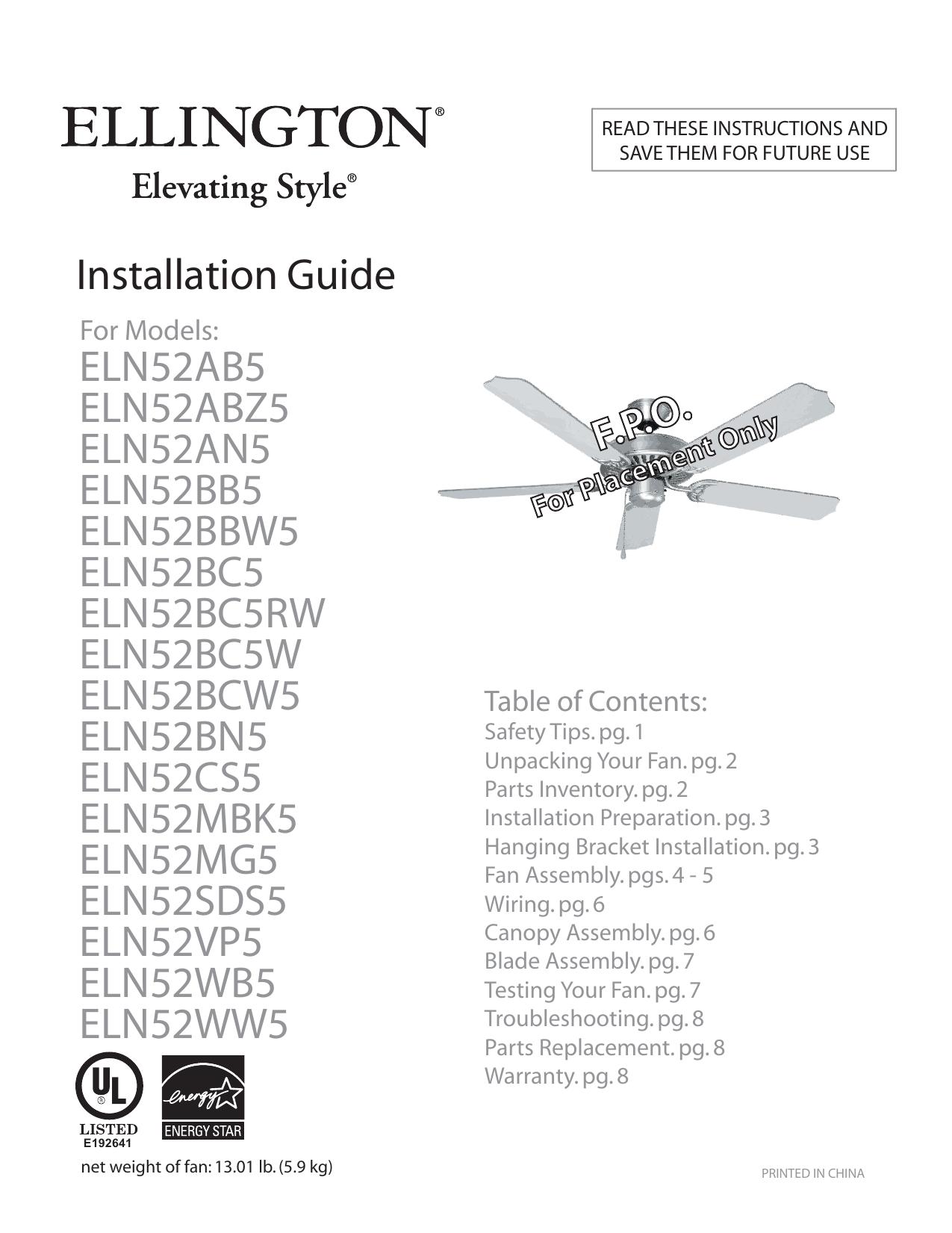 Ellington 52 Inch Ceiling Fan Installation Instructions | Manualzzmanualzz
