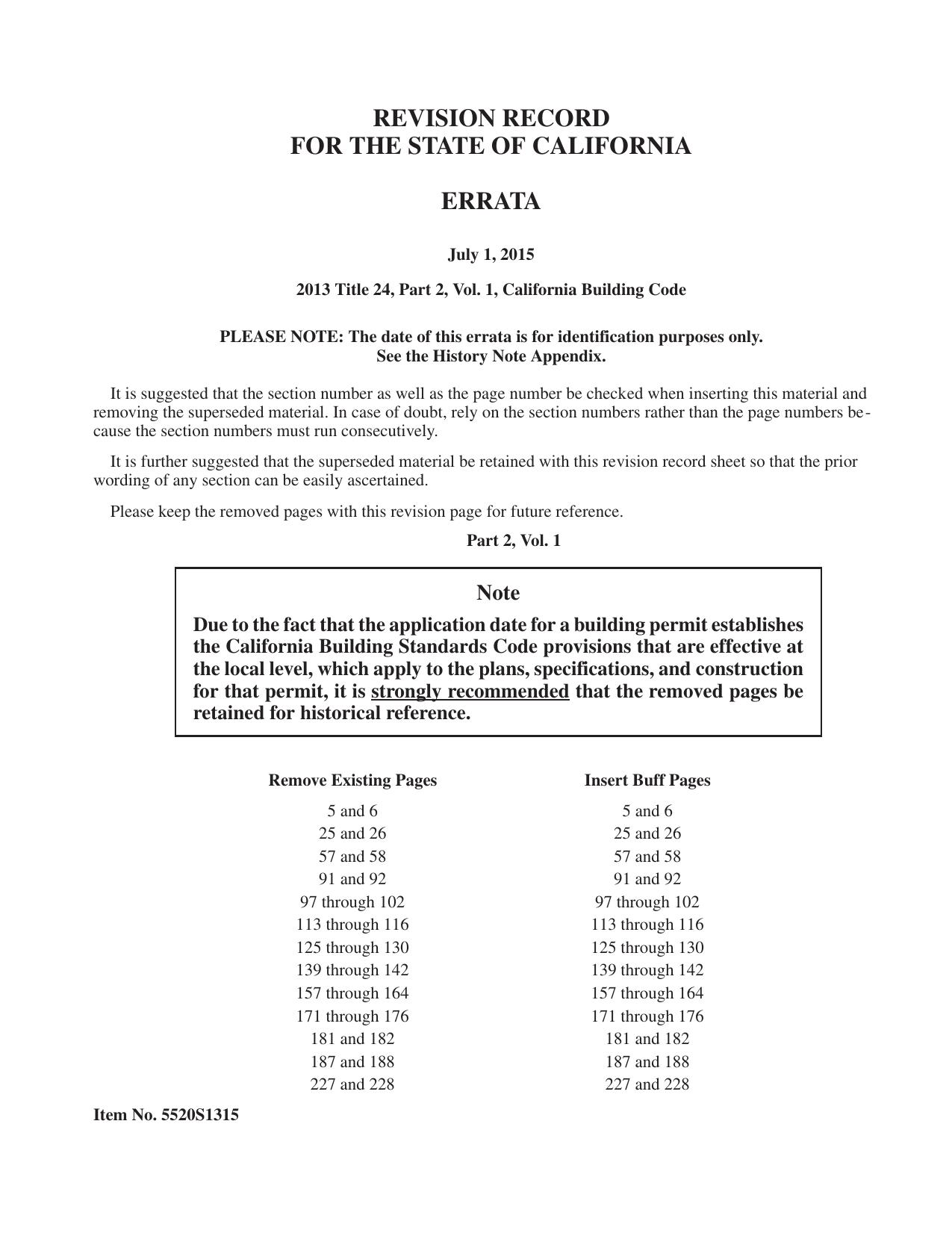 revision record for the state of california errata