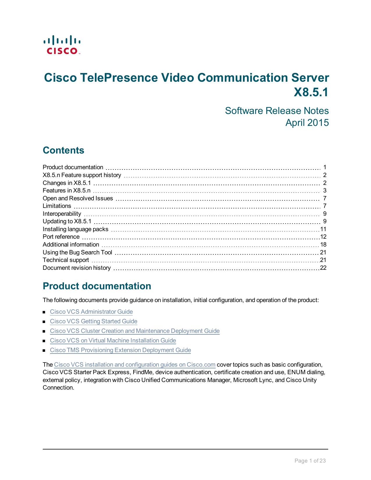 Cisco TelePresence Video Communication Server Release Note