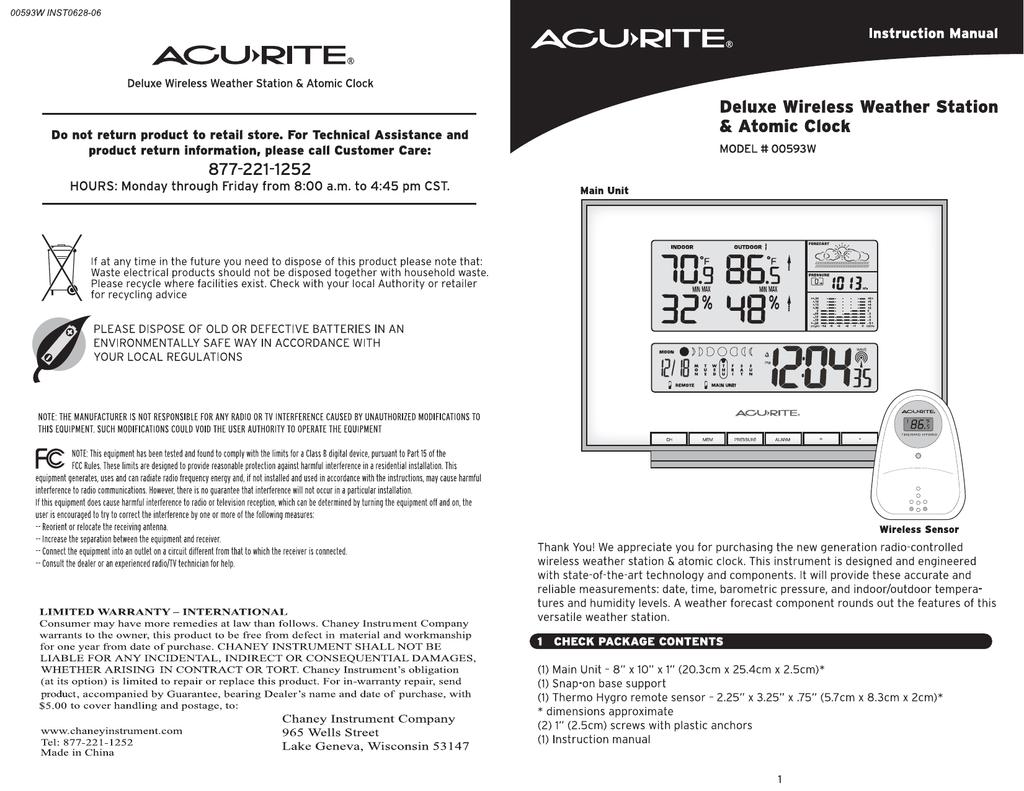 Acu Rite 00593w User Manual Manualzz