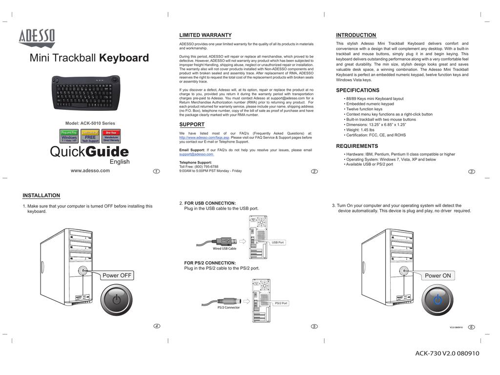 Adesso ACK-5010 User's Manual | manualzz com