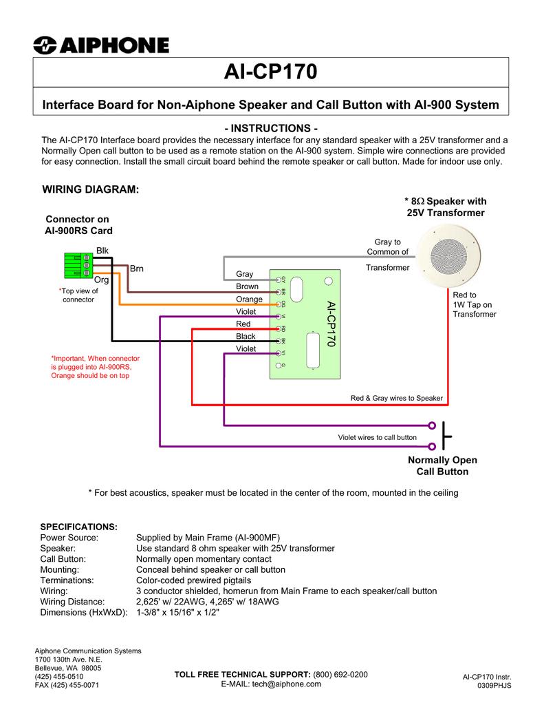 Aiphone Wiring Diagram