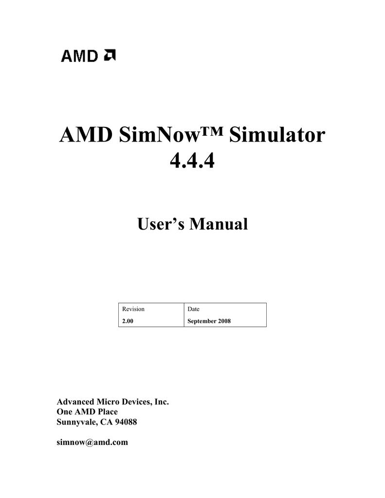 AMD SimNow Simulator 4 4 4 User's Manual   manualzz com