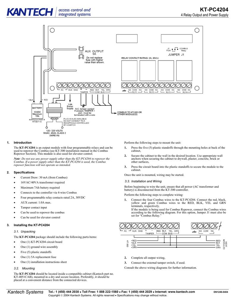 American Dynamics Kt Pc4204 Users Manual Tamper Wiring Diagram For