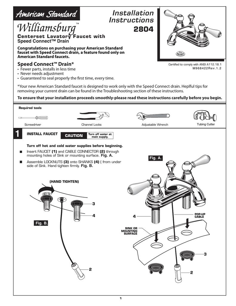 American Standard WILLIAMSBURG 2804 User\'s Manual | manualzz.com