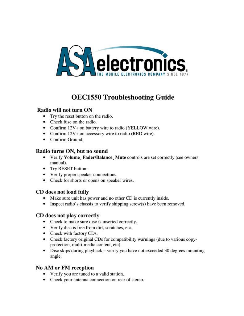 ASA Electronics Radio OEC1550 User's Manual | manualzz com