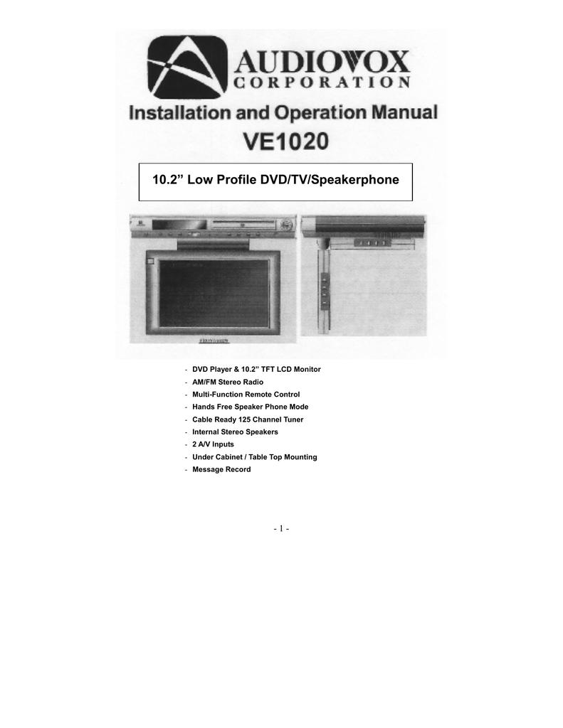 audiovox ve1020 user s manual manualzz com rh manualzz com Kitchen Under Cabinet TV DVD Combo Undercabinent TV