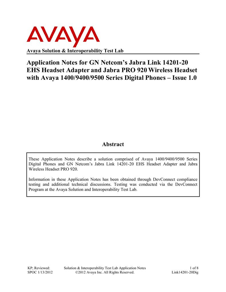 Avaya 1400/9400/9500 Series Application Note | manualzz com