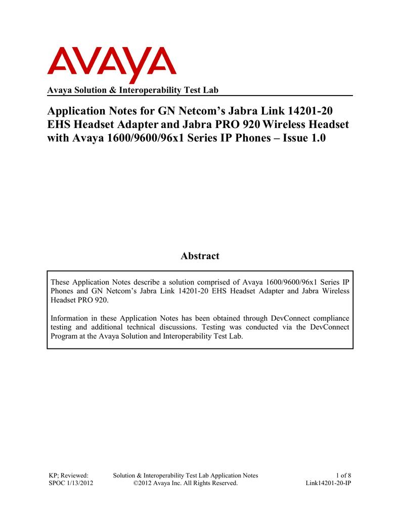 Jabra Electronic hook switch solution Adapter for Avaya phones wireless 14201-35