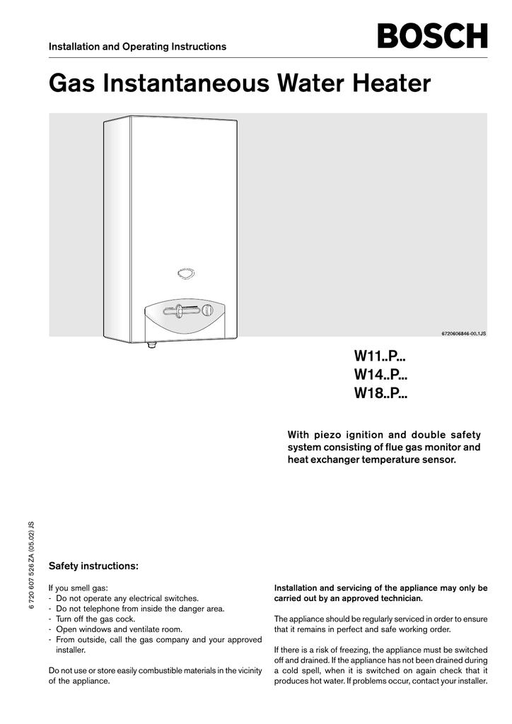 Bosch W11p User S Manual Manualzz