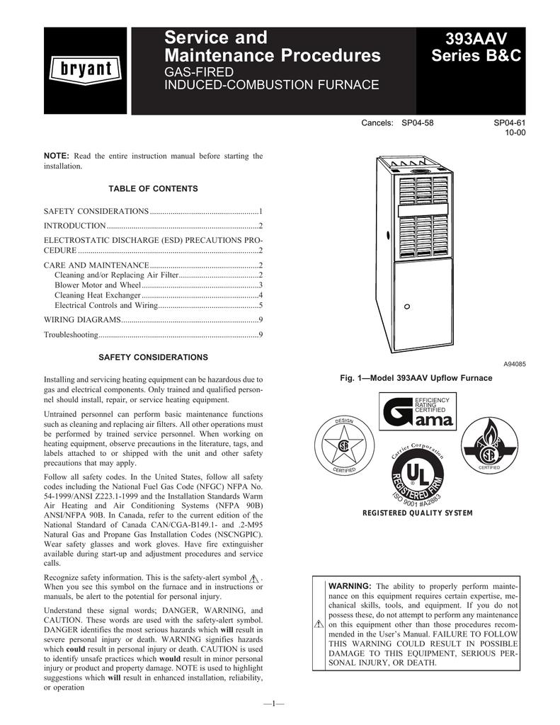 Bryant 393AAV User's Manual | manualzz com