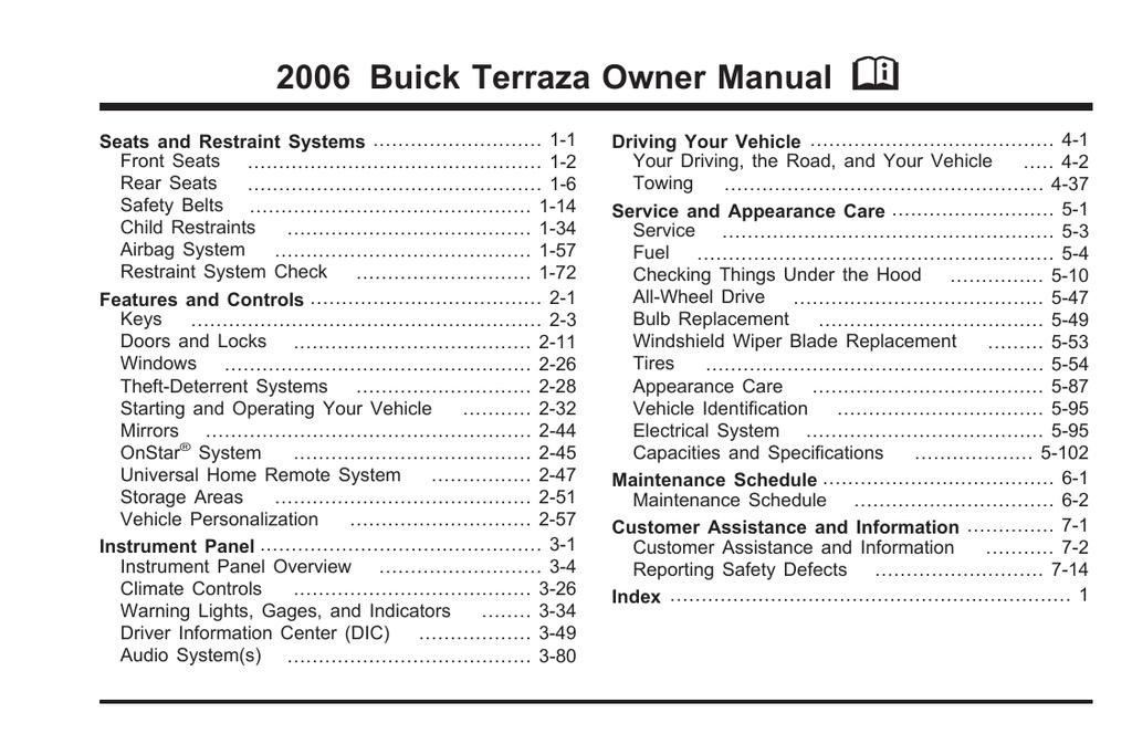 buick terraza trailer wiring harness buick terraza 2006 user s manual manualzz  buick terraza 2006 user s manual manualzz