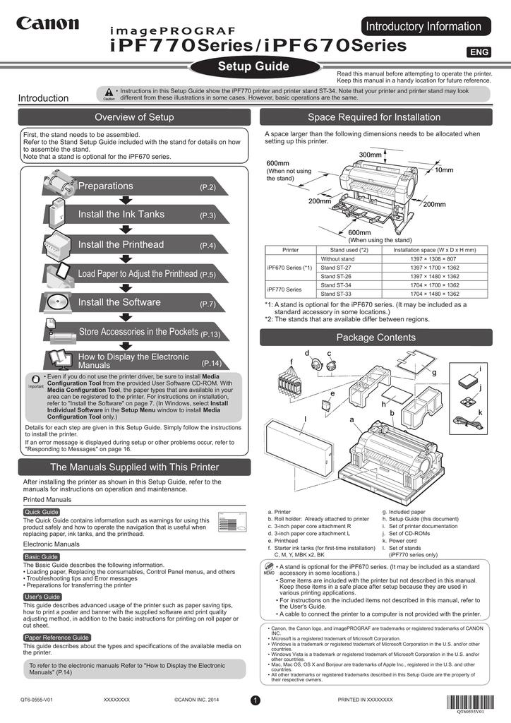 Canon imagePROGRAF iPF770 Setup Guide   manualzz com