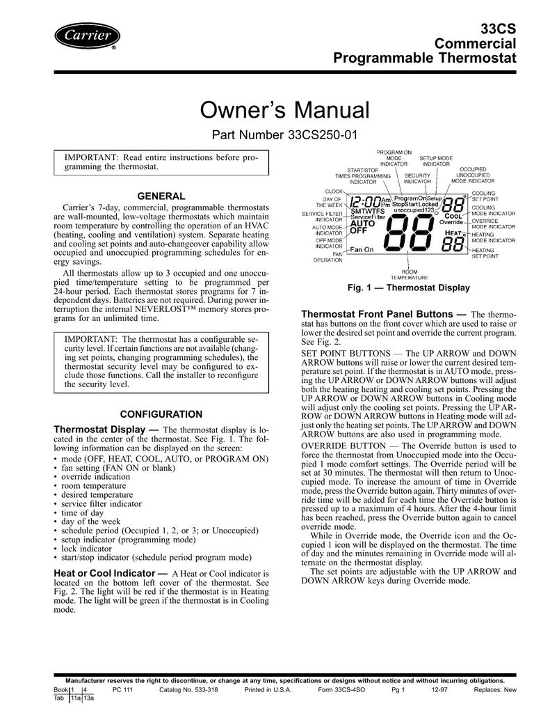 Carrier 33cs 33cs250 01 User Manual Manualzz