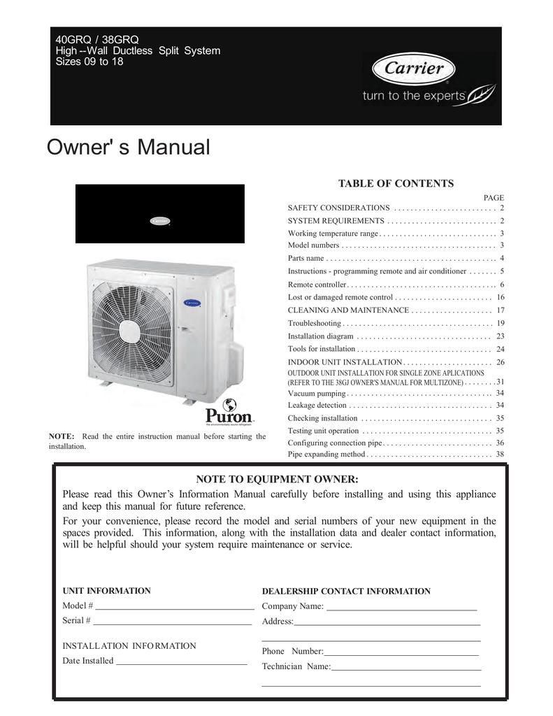 carrier 38 40grq owner s manual manualzz com rh manualzz com