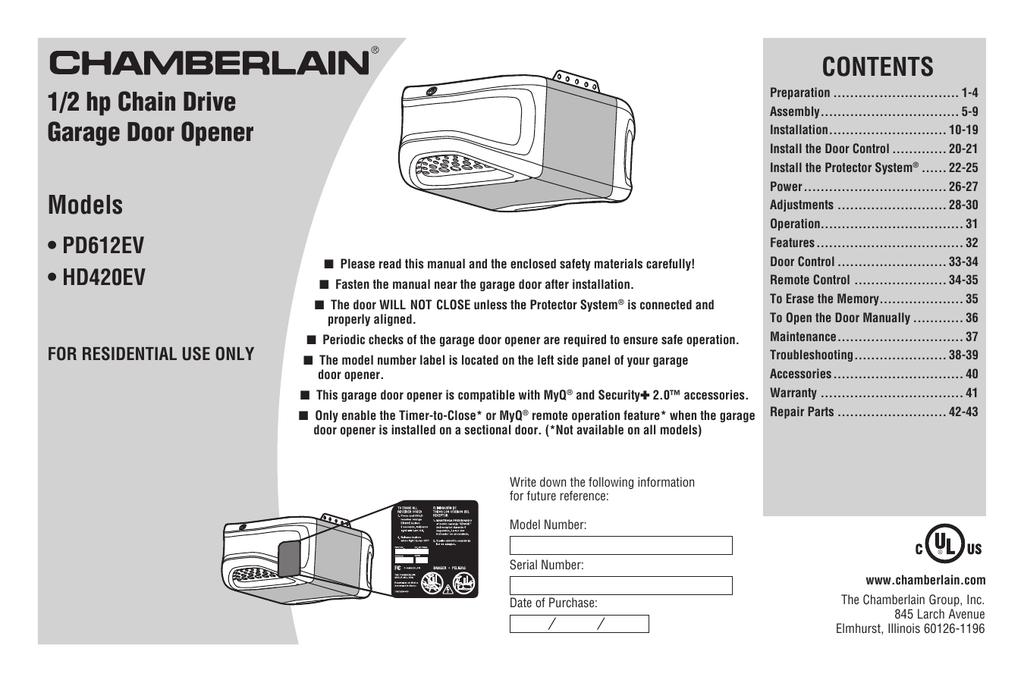Chamberlain HD420EV User's Manual | manualzz.com on