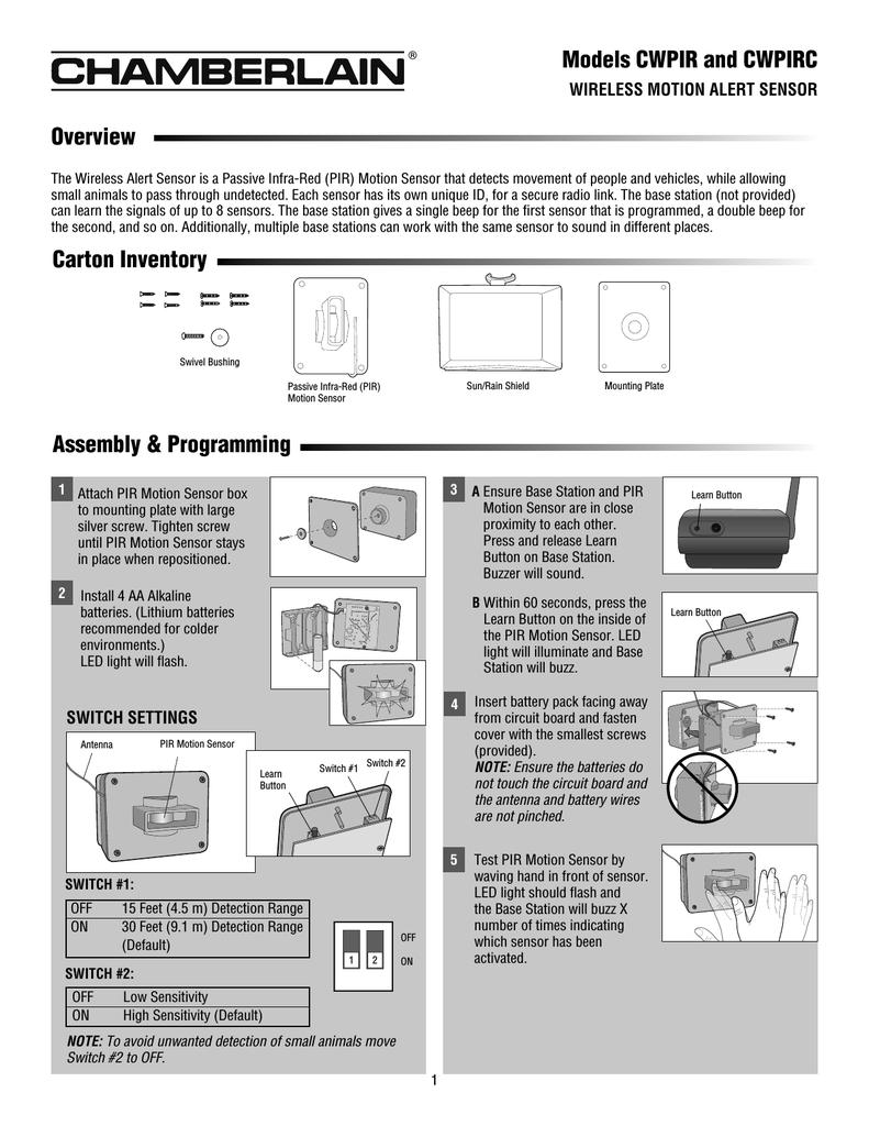 Chamberlain Cwpir Motion Alert Sensor Users Manual Circuit Board
