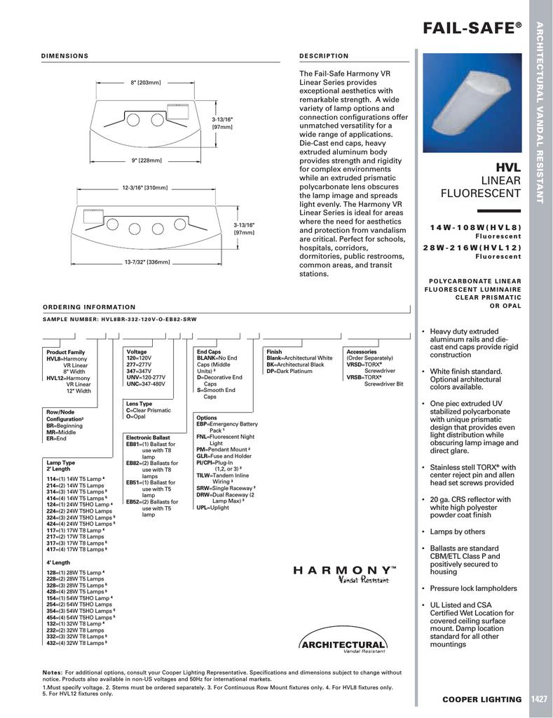 Cooper Lighting Fail Safe Hvl8 User S