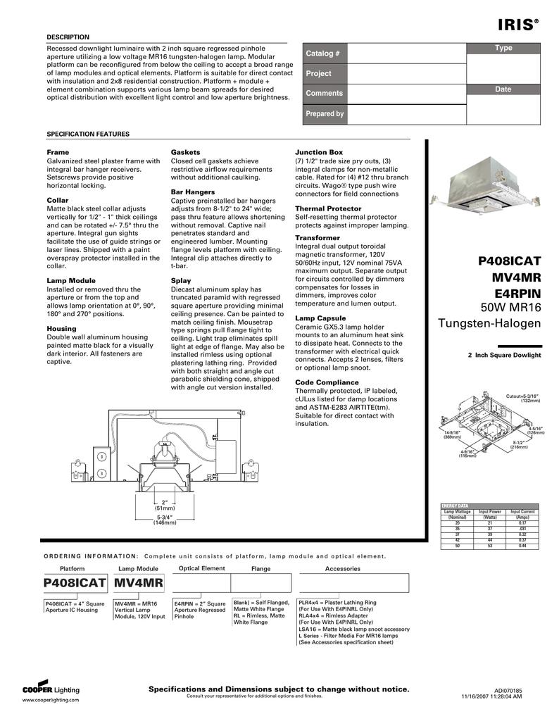 Cooper Lighting Iris E4rpin User S Manual Manualzz