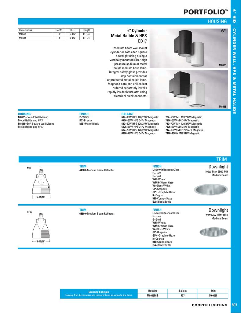 Cooper Lighting Portfolio M8605 User S Manual Manualzz