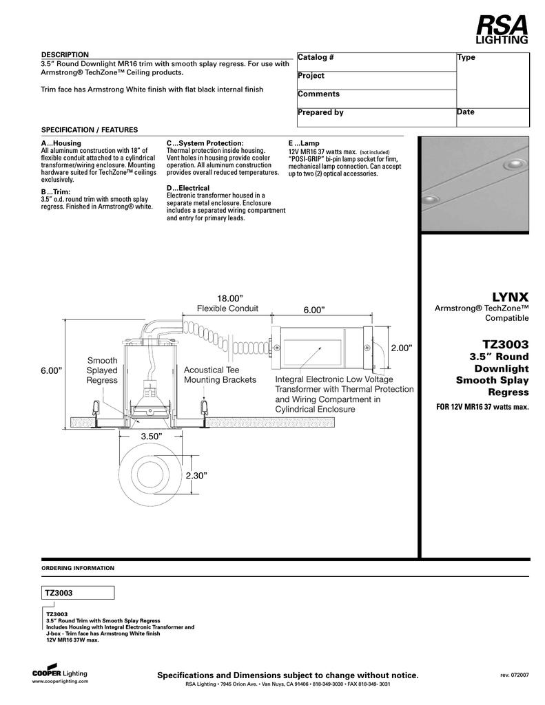 Cooper Lighting Tz3003 Users Manual Thermal Protector Wiring Diagram