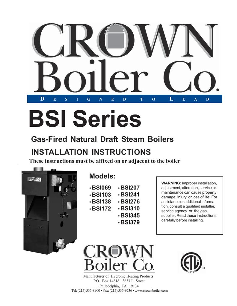 Crown Boiler Bsi069 Users Manual Wiring Diagram