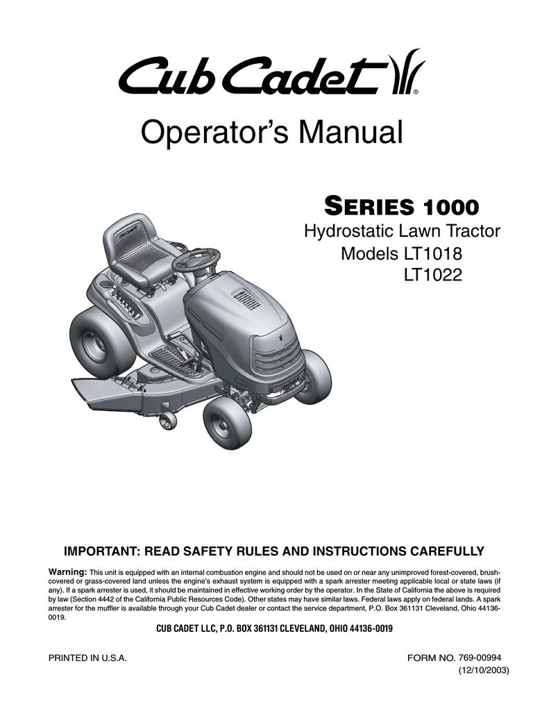 Cub Cadet LT1022 Operator's Manual | manualzz com