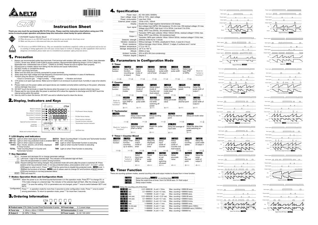 [SCHEMATICS_48IS]  Delta Electronics Timer/Counter/Tachometer CTA User's Manual | Manualzz | Delta Tachometer Wiring |  | manualzz