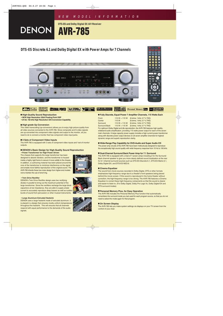 Denon AVR-785S User's Manual | manualzz com