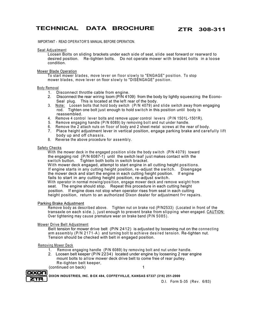 Dixon ZTR 308-311 User's Manual | manualzz com