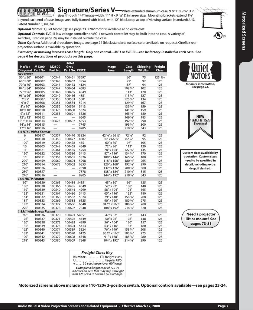 10 x 10 diagonal AV Format Size M2500 Premier Series C Manual ...
