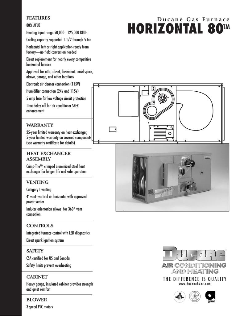 80 Ducane Furnace Manual Model Sg12b48100 Wiring Diagram Array Hvac Horizontal User U0027s Manualzz Com Rh