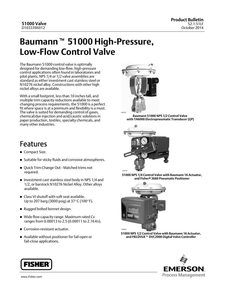 Emerson Fisher Baumann 51000 Data Sheet | manualzz com