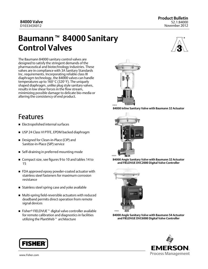 Emerson Fisher Baumann 84000 Data Sheet | manualzz com