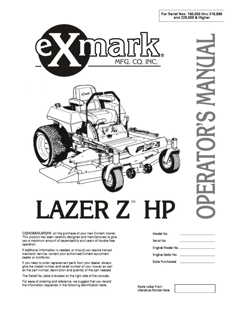 Exmark LAZER ZTM User's Manual | manualzz com